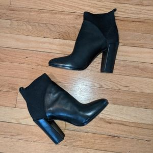 Vince leather and knit ankle boots, size 11